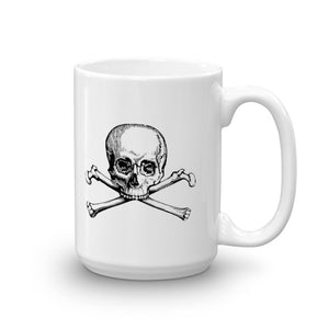 White mug with black skull and crossbones logo
