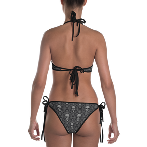 Back view reversible skull print and black bikini