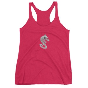 Front of pink seahorse skeleton tank top