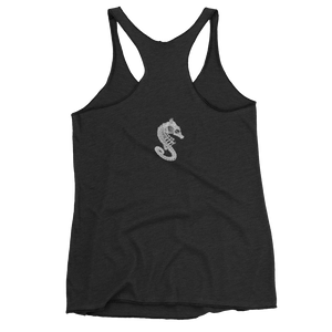 Back of black seahorse skeleton tank top