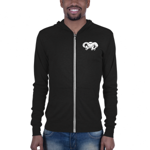Front view man wearing skull and tentacle print zip up hoodie