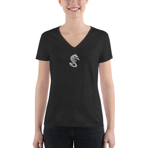 front view of seahorse skeleton v-neck shirt in black
