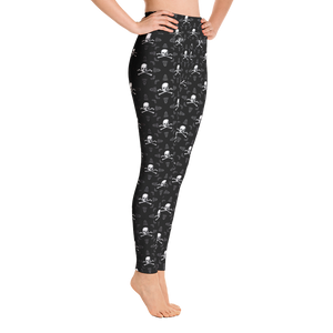 Side view of skull and crossbones leggings right
