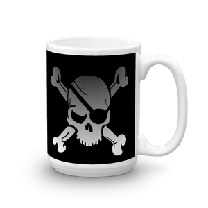 coffee mug with pirate skull and eye patch