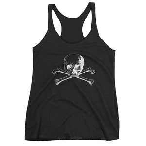 Front view of black racerback tank top with skull and crossbones logo