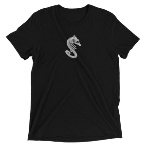 Black t-shirt with seahorse skeleton logo