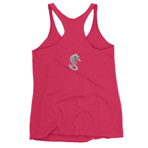Back of pink seahorse skeleton tank top