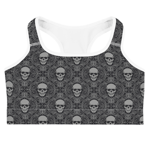 Front view skeleton wallpaper skull print sports bra with white trim