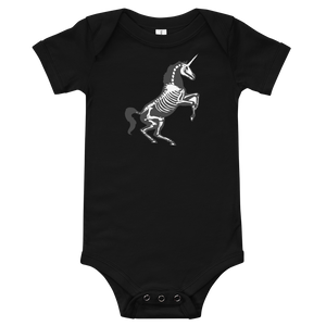 flat lay image of black unicorn skeleton baby onesie