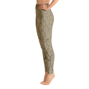 Side view of desert floor print burning man pants or yoga leggings