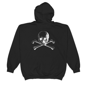 Back view of skull and crossbones zip up hoodie rear