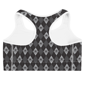 Back view black and grey argyle skull print sports bra with white trim
