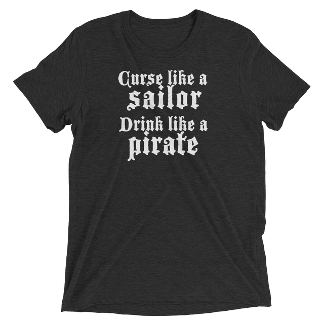 "Charcoal black shirt with slogan ""curse like a sailor, drink like a pirate"""