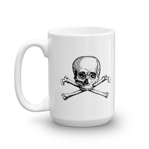 White coffee mug with black skull and crossbones logo
