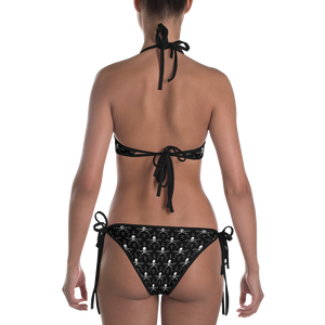 Back view skull and crossbones print bikini