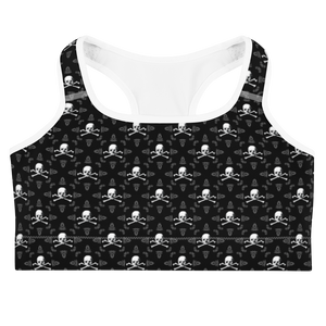 Front view skull and crossbones sports bra with white trim