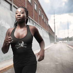 Woman running outdoors in skull and crossbones racerback tank