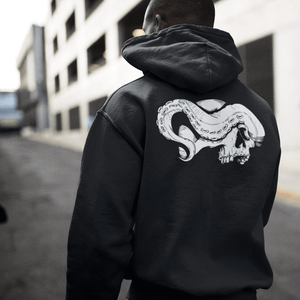 Man's back wearing zip up skull hoodie with skull and tentacle print