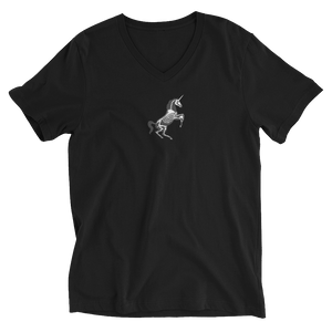 black v-neck t-shirt with a white unicorn skeleton center front.