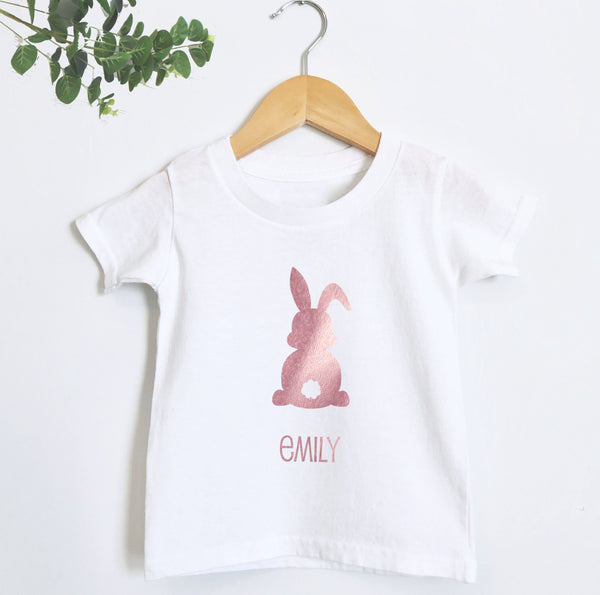 Personalised Rose Gold Easter Bunny Rabbit T Shirt