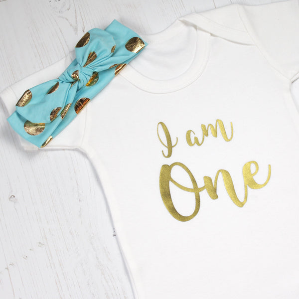 I am One Babygrow with Spotty Headband - Betty Bramble