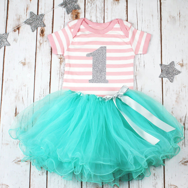 Girls First Birthday Stripey Pink Tutu Outfit, - Betty Bramble