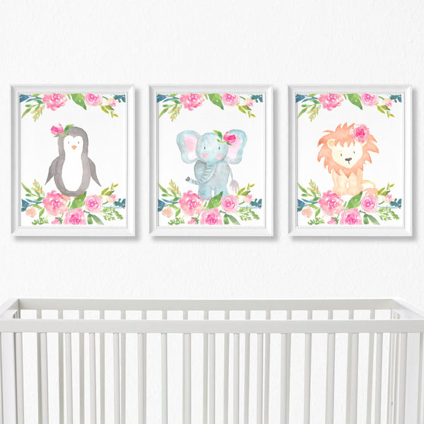 Safari Animals Floral Nursery Art Print Set,Art Print - Betty Bramble