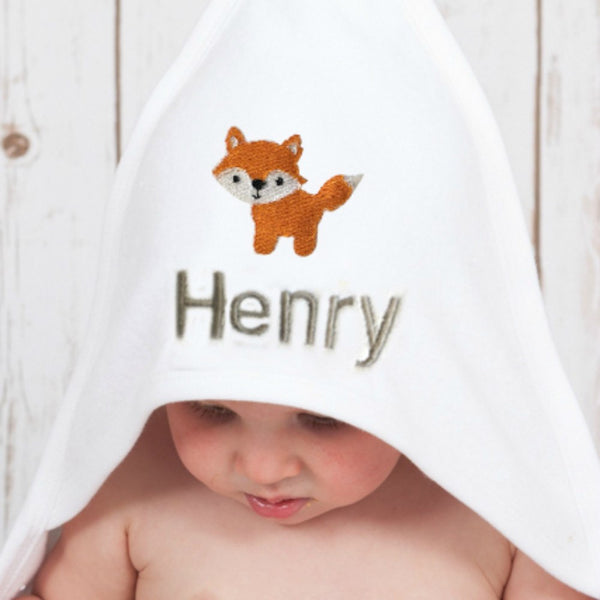 Personalised Baby Fox Towel,Baby Towels - Betty Bramble