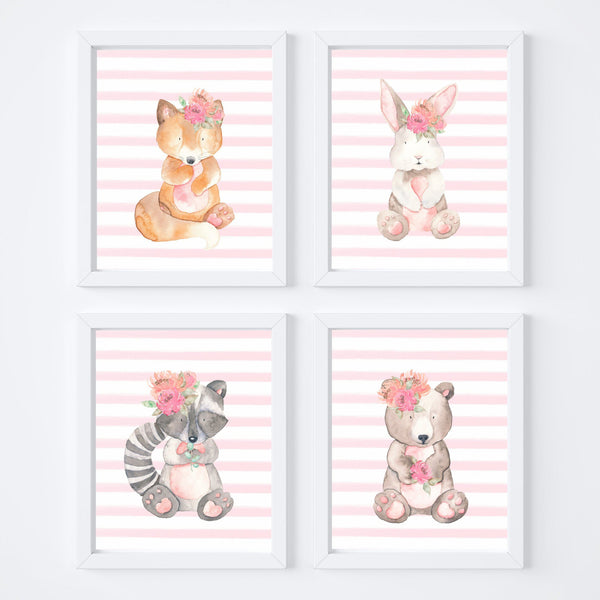 Woodland Animals with Pink Nursery Art Prints