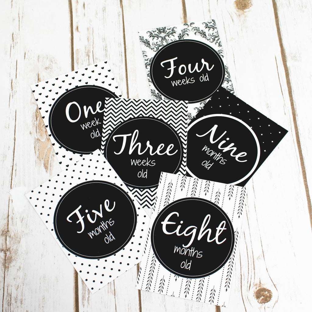 Monochrome Cards for Baby Milestone Events,Baby Shower - Betty Bramble