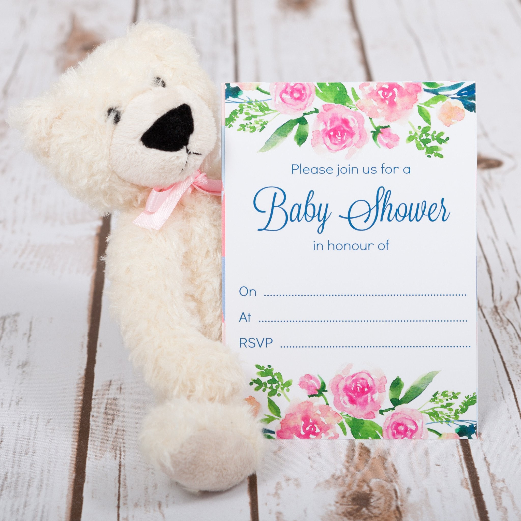Baby Shower Invitations with Pink Floral Design – Betty Bramble