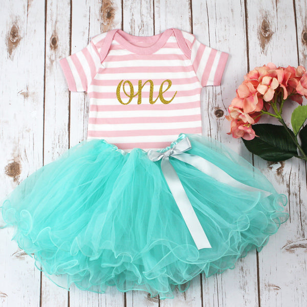 First Birthday Stripey Pink Tutu Outfit, - Betty Bramble