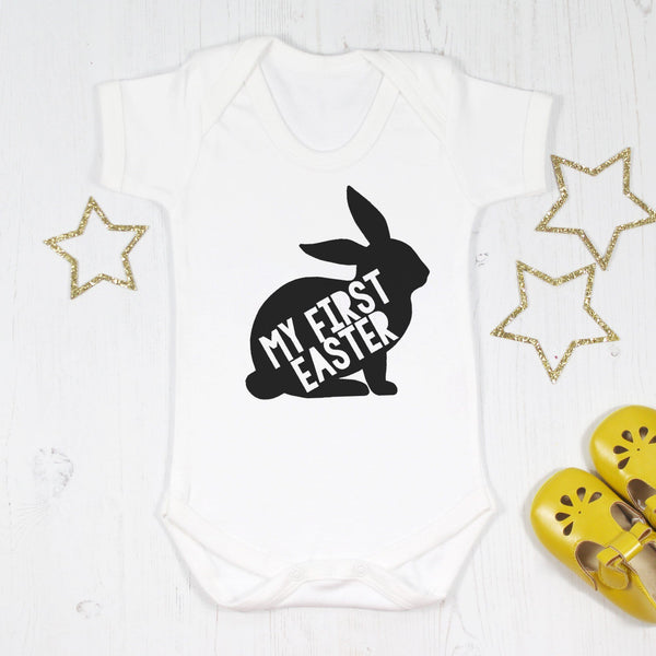 My First Easter Monochrome Baby Bodysuit, - Betty Bramble