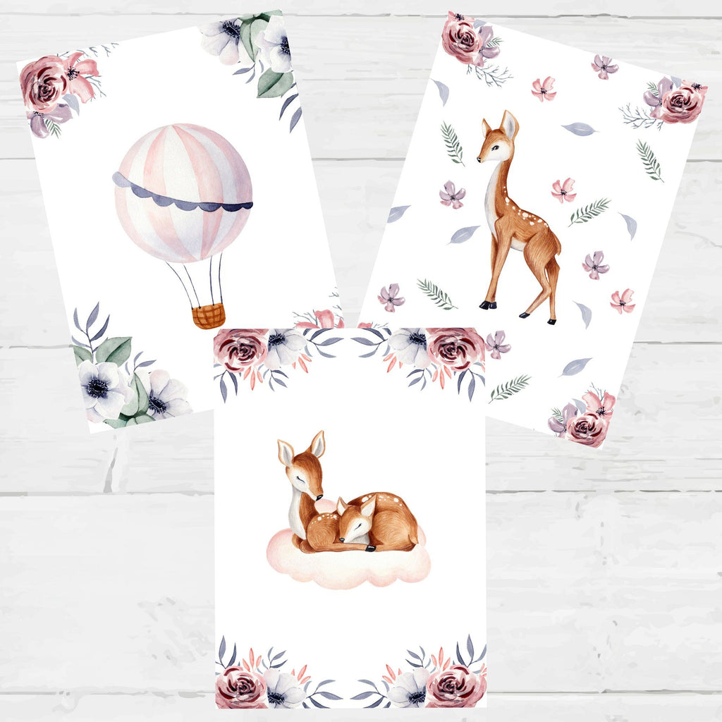 Sweet Deer Watercolour Nursery Printables, - Betty Bramble
