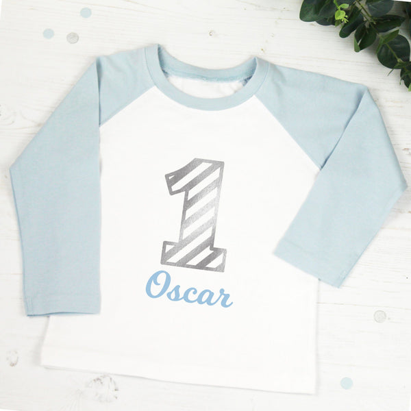 Personalised First Birthday T Shirt in Light Blue, - Betty Bramble