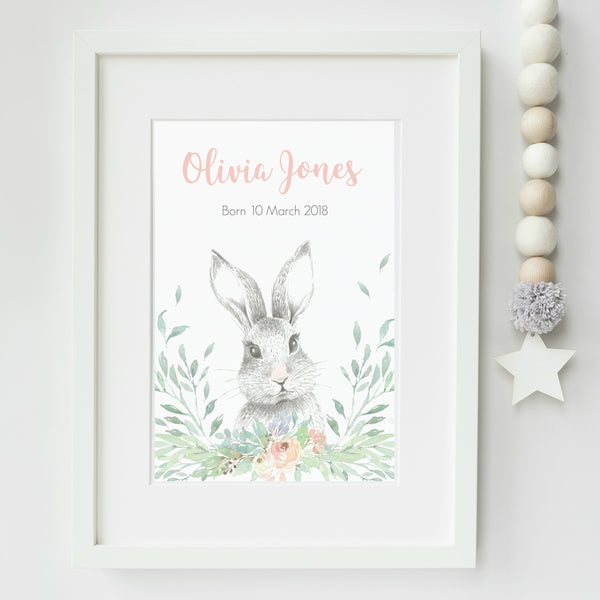 Personalised Rabbit Nursery Art Print,Art Print - Betty Bramble