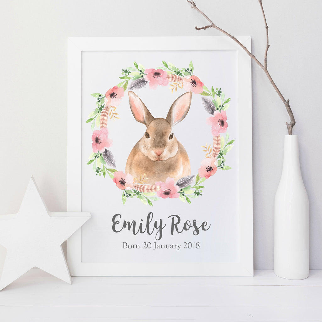 Personalised Baby Bunny Nursery Print,Art Print - Betty Bramble