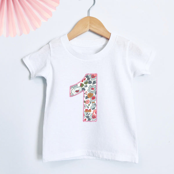 First Birthday Applique Liberty T Shirt - Betty Bramble