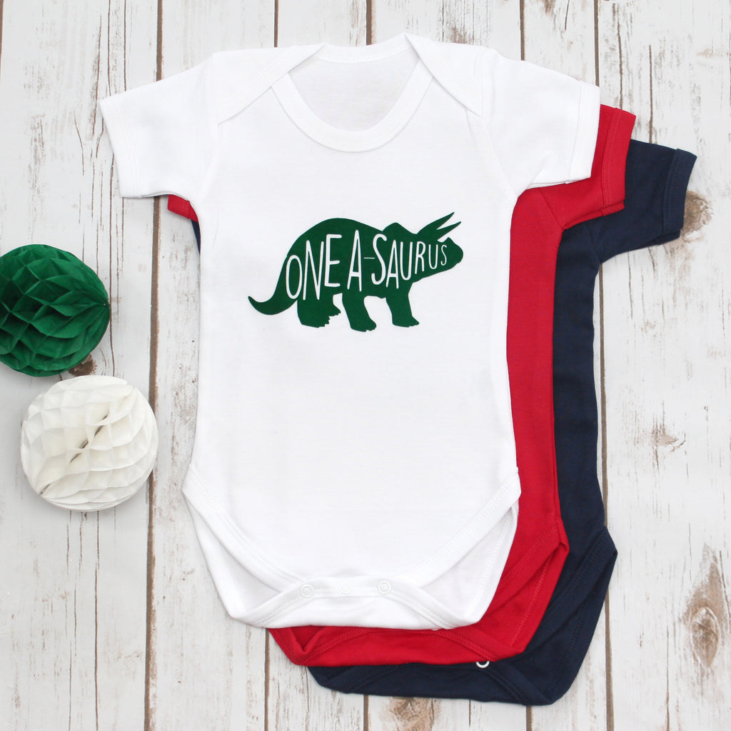 Dinosaur First Birthday Onesie, - Betty Bramble