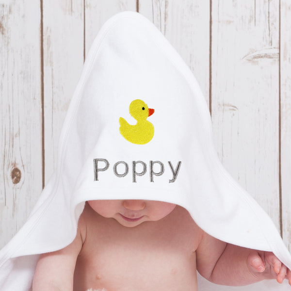 Personalised Duck Hooded Baby Towel,Baby Towels - Betty Bramble