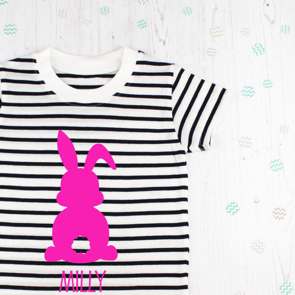 Personalised Breton Striped Easter Rabbit T Shirt