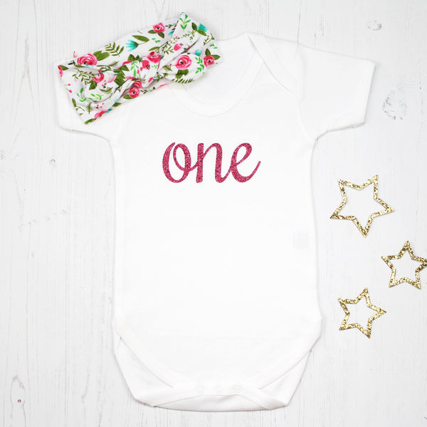 First Birthday Babygrow with Floral Headband, - Betty Bramble