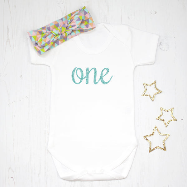 First Birthday Babygrow with Geometric Headband, - Betty Bramble