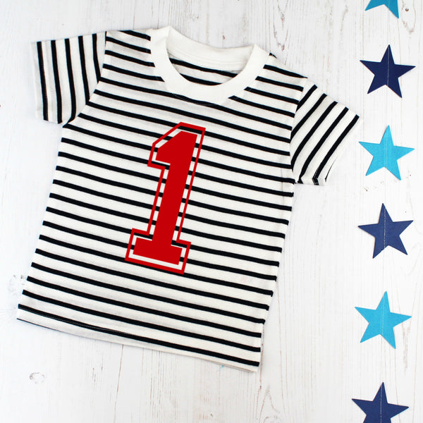 First Birthday Number One Breton T Shirt, - Betty Bramble