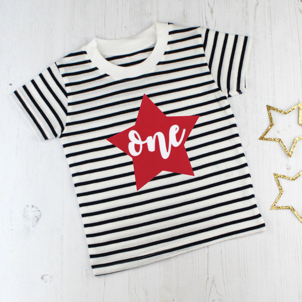 First Birthday Star Breton T Shirt, - Betty Bramble