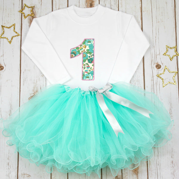 Birthday Liberty Aqua Tutu Outfit, - Betty Bramble