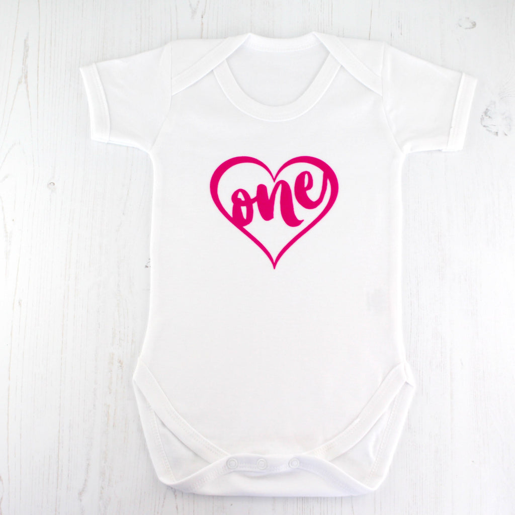 First Birthday Pink Heart Bodysuit, - Betty Bramble