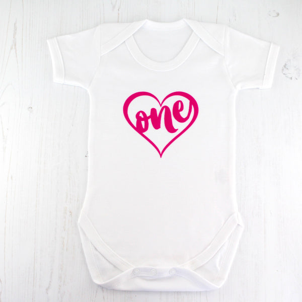 First Birthday Pink Heart Bodysuit - Betty Bramble