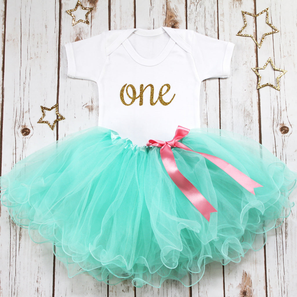 First Birthday Aqua Tutu Outfit