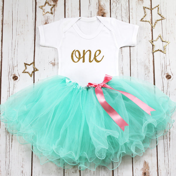 First Birthday Aqua Tutu Outfit, - Betty Bramble